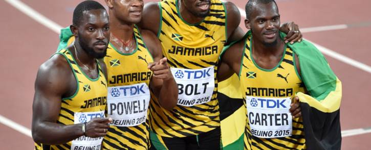 Nesta Carter (right) celebrates a relay with the Jamaican 4x100m sprint team. Picture: AFP