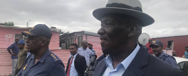 Police Minister Bheki Cele in Gugulethu for as part of Operation Fiela Two on Tuesday 13 March 2018. Picture: Kaylynn Palm/EWN