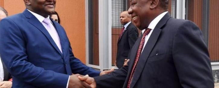 Gauteng Premier David Makhura greeting President Cyril Ramaphosa. Picture: @GautengProvince/Twitter