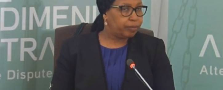 A screengrab of former Gauteng Health MEC Qedani Mahlangu gives testimony at the Esidimeni arbitration hearing in Johannesburg on 22 January 2018.