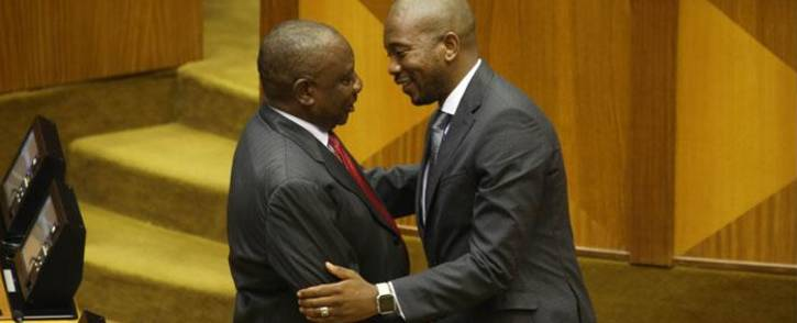 FILE: President Cyril Ramaphosa (L) is congratulated by Democratic Alliance party leader Mmusi Maimane (R) after being elected by the Members of Parliament in Cape Town, on 15 February 2018. Picture: Bertram Malgas/EWN