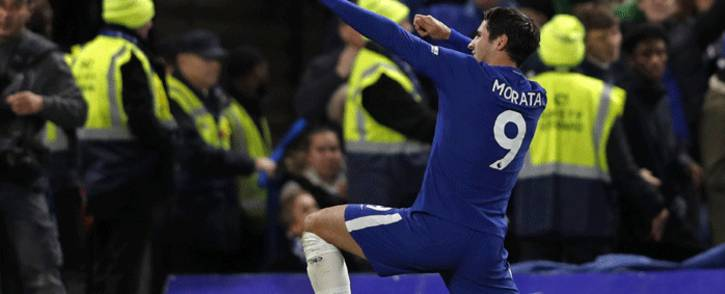 Chelsea's Spanish striker Alvaro Morata celebrates scoring the opening goal during the English Premier League football match between Chelsea and Manchester United at Stamford Bridge in London on 5 November, 2017. Picture: AFP.