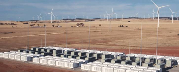 This screen grab from an undated handout video from a drone received by AFP on 1 December 2017 from French energy firm Neoen shows the Tesla 100 MW/129 MWh Powerpack system by billionaire entrepreneur Elon Musk in the rural town of Jamestown, 200km north of Adelaide. Picture: AFP.