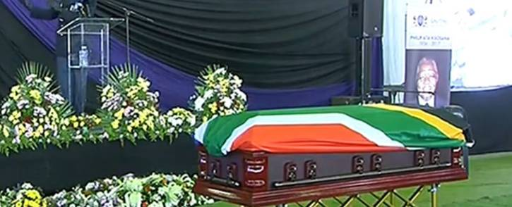 A screengrab of Philip Kgosana's casket at his funeral service.