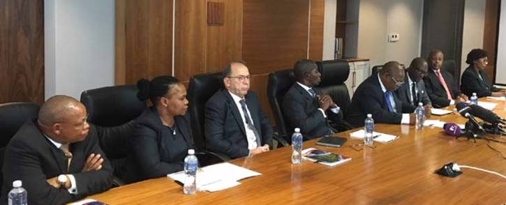 FILE: Deputy Chief Justice Raymond Zondo (fourth from right) briefing the media on the team who will head up the inquiry into state capture. Picture: Ihsaan Haffejee/EWN.