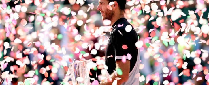 Juan Martin del Potro celebrates his ATP Tour Masters 1,000 title at Indian Wells. Picture: Twitter/@ATPWorldTour.