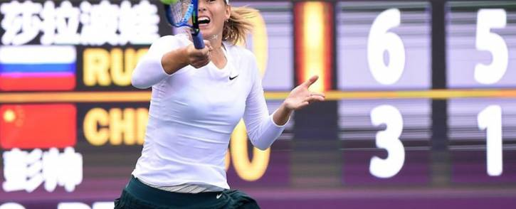 Maria Sharapova in action at the Tianjin Open. Picture: @TianjinOpen/Twitter.