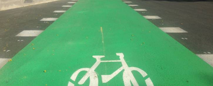 EcoMobility cycling sign in Sandton. Picture: Mia Lindeque/EWN.