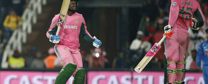 South African batsman Heinrich Klaasen and South African batsman Andile Pehlukwayo celebrate after winning the fourth One Day International cricket match between South Africa and India at Wanderers cricket ground on 10 February, 2018 in Johannesburg, South Africa. Picture: AFP.