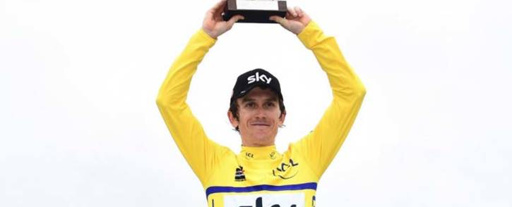 Team Sky rider Geraint Thomas with a trophy after winning the Criterium du Dauphine. Picture: @dauphine/Twitter.