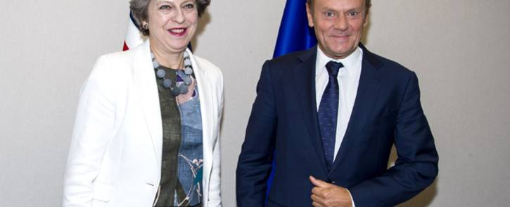 Britain's Prime Minister Theresa May (left) and European Council President Donald Tusk (right). Picture: @eucopresident/Twitter