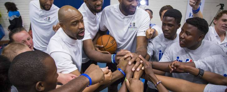 NBA players celebrate with Special Olympic athletes during a coaching clinic on 2 August 2017, as part of the NBA Africa events in Johannesburg. Picture: Thomas Holder/EWN