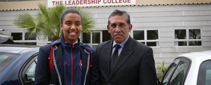 Kauthar Fortune and her principal, Mr Yusuf Atcha, outside the Leadership Academy in Manenberg. Picture: Bertram Malgas/EWN