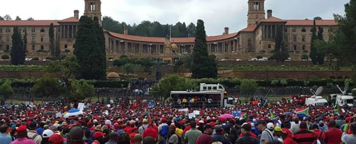 The Union Buildings on 12 April 2017 where leaders and members from different political parties called for the resignation of President Jacob Zuma. Picture: Louise McAuliffe/EWN.