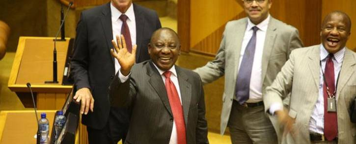 South Africa's new president, Cyril Ramaphosa, smiles alongside ANC Chief Whip Jackson Mthembu (R) after being elected by the Members of Parliament in Cape Town, on 15 February 2018. Picture: Bertram Malgas/EWN