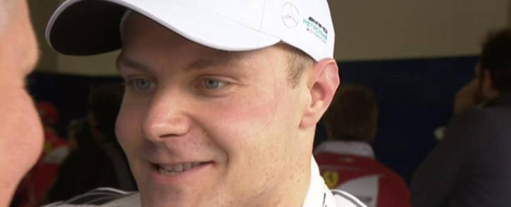 Mercedes' Valtteri Bottas addressing the media after taking pole position for the Brazilian Formula One Grand Prix. Picture: @F1/Twitter.