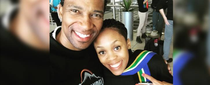 FILE: Renowned South African racing driver Gugu Zulu and his wife Letshego posing for a photo at the O.R. Tambo International Airport in Johannesburg on 13 July 2016 ahead of their trip to Tanzania. Picture: Facebook.