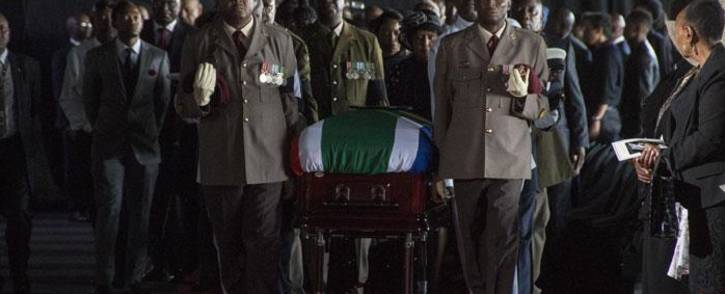 Mourners are seen at the funeral of South African poet Keorapetse Kgositsile at the Marks Park sports club in Johannesburg on 16 January 2018. Picture: Ihsaan Haffejee/EWN