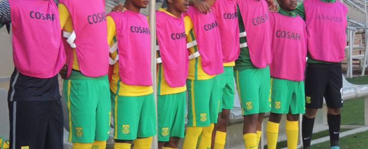 Bafana Bafana players stand during the national anthem during their Cosafa Cup Plate semifinal against Namibia on 5 June 2018. Picture: @BafanaBafana/Twitter