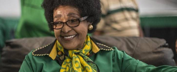 ANC stalwart Winnie Madikizela-Mandela looks on as she is greeted by Women's League supporters gathered in Soweto on 26 September 2016 to celebrate her 80th birthday. Picture: AFP