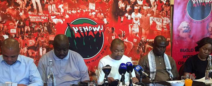 FILE: Nehawu members at a press briefing. Picture: Clement Manyathela/EWN.