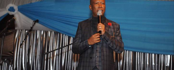 EFF leader Julius Malema pictured on 3 June 2018 during an address at the Faith Gospel Church in Khutsong, North West. Picture: @EFFSouthAfrica/Twitter