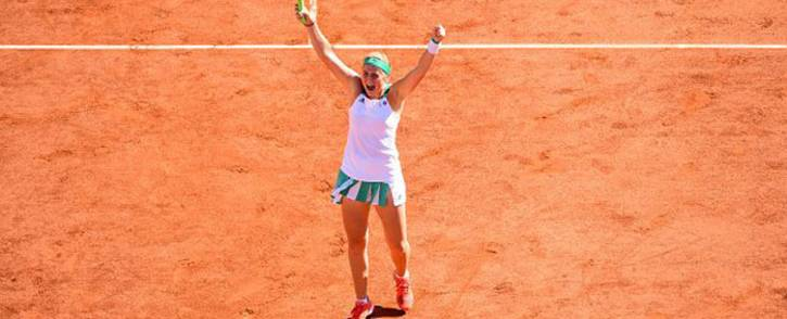 FILE: Jelena Ostapenko celebrates a win at the 2017 French Open. Picture: @WTA/Twitter
