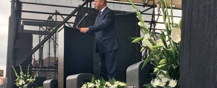 Former Finance Minister Trevor Manuel gives a keynote address on the life of Ma Winnie at Constitution Hill, Johannesburg on 9 April 2018. Picture: Katleho Sekhotho/EWN
