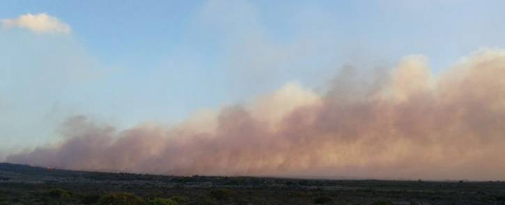 A view of smoke from the fire that broke out in the Cape Point Nature Reserve. Picture: @vwsfires/Twitter