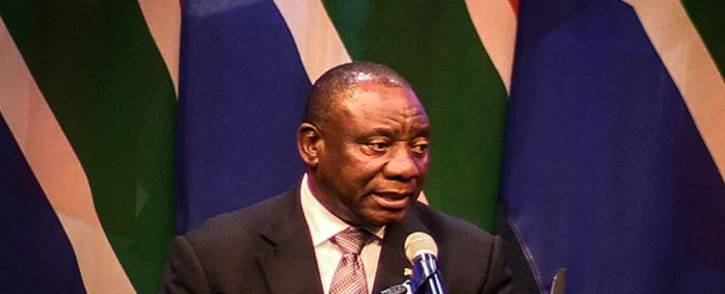 President Cyril Ramaphosa pays tribute to the late Dr Zola Skweyiya at his funeral in Pretoria. Picture: Kayleen Morgan/EWN
