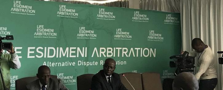 FILE: Retired deputy Chief Justice Dikgang Moseneke presiding over the arbitration process into the Esidimeni tragedy. Picture: Masego Rahlaga/EWN