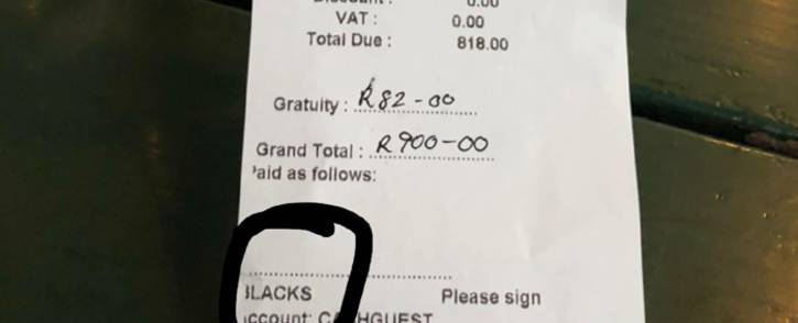 A screengrab of the bill marked 'blacks' that was handed to Royal Hotel patrons in Mpumalanga.