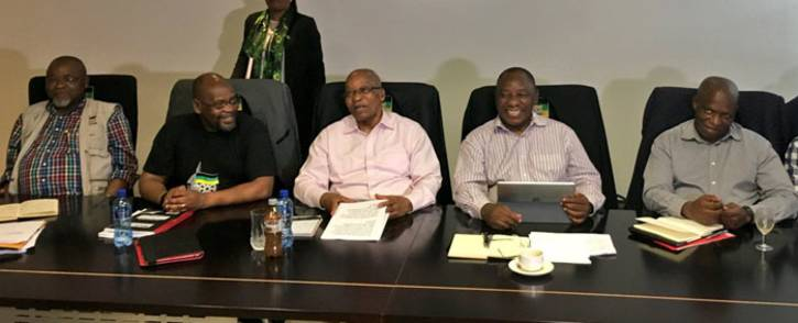 President Jacob Zuma seated with the NEC top six and leaders of the SACP and Cosatu at an alliance council at Luthuli house. Picture: Katleho Sekhotho/EWN.