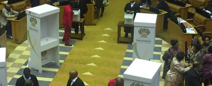 Voting booths in Parliament. Picture: Lindsay Dentlinger/EWN