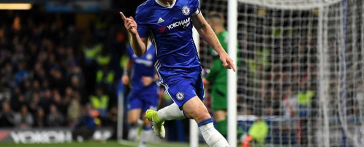 Chelsea captain Gary Cahill  celebrates his goal against Southampton in the English Premier League on 25 April 2017. Picture: Facebook.