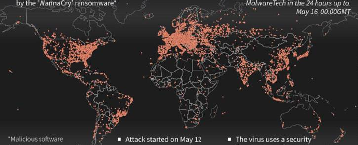 Map showing the extent of the Wannacry ransomware attack that has crippled more than 300,000 computers worldwide.