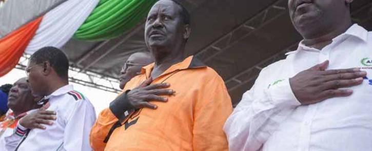 FILE: Kenyan opposition leader Raila Odinga, centre. Picture: @RailaOdinga/Twitter