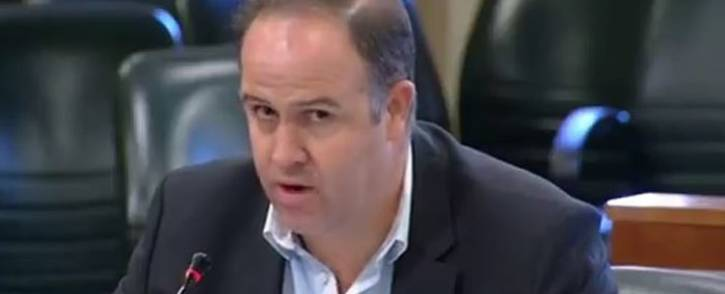 A screengrab of business rescuer Piers Marsden addressing Parliamentarians. Picture: YouTube.