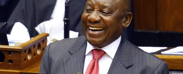 South Africa's new president Cyril Ramaphosa smiles as he delivers a speech after being elected by the Members of Parliament during his swearing in ceremony at the Parliament in Cape Town, on 15 February 2018. Picture: AFP