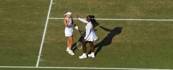Serena Williams congratulates Angelique Kerber following their Wimbledon final match. Picture: @Wimbledon/Twitter.