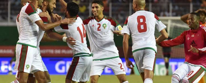 Morocco celebrate sealing their place at the 2018 World Cup after beating Ivory Coast 2-0 in Abidjan on Saturday. Picture: @WorldCupEN/Twitter.