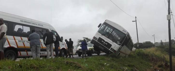 The overturned school bus in Adams Mission, KwaZulu-Natal. Picture: ER24/Twitter