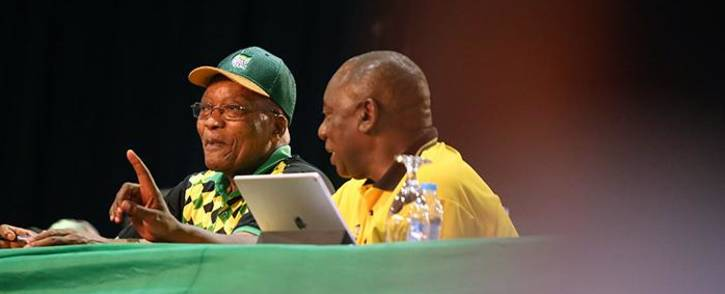 Jacob Zuma and Cyril Ramaphosa during the nominations process at the ANC's national conference on 17 December 2017. Picture: Sethembiso Zulu/EWN