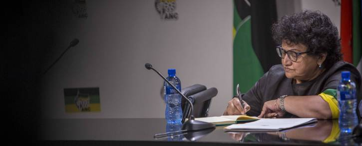 Deputy SG Jessie Duarte takes questions during the briefing at Luthuli House on the NEC meeting that resulted in the decision to recall Jacob Zuma. Picture: Thomas Holder/EWN.