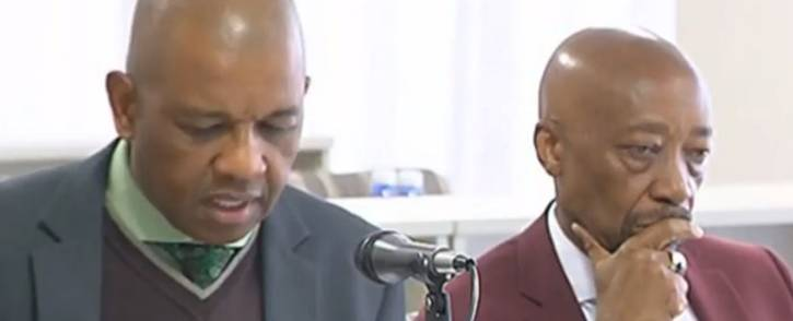 A screengrab of Advocate Dali Mpofu (left) making representations on behalf of Tom Moyane (right) during his disciplinary hearing on 21 July 2018.