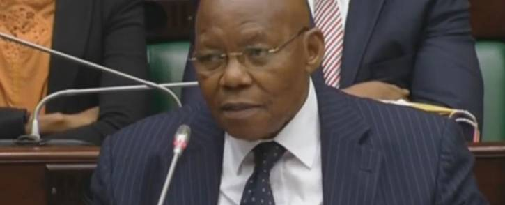 A screengrab of former SABC board chairperson Ben Ngubane answering questions in Parliament.
