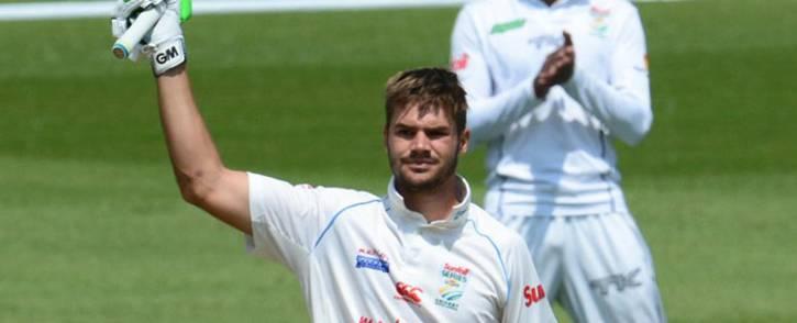 Titans batsman Aiden Markram raises his bat after scoring a 50. Picture: @OfficialCSA/Twitter