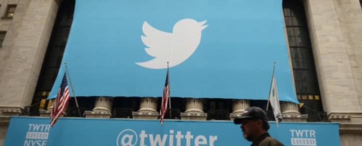 FILE: A banner with the logo of Twitter is set on the front of the New York Stock Exchange on 7 November 2013 in New York. Picture: AFP