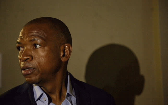 Under fire Premier of the North West Supra Mahumapelo is seen on the sidelines of an ANC meeting held to discuss his future in Mahikeng. Picture: Ihsaan Haffejee/EWN