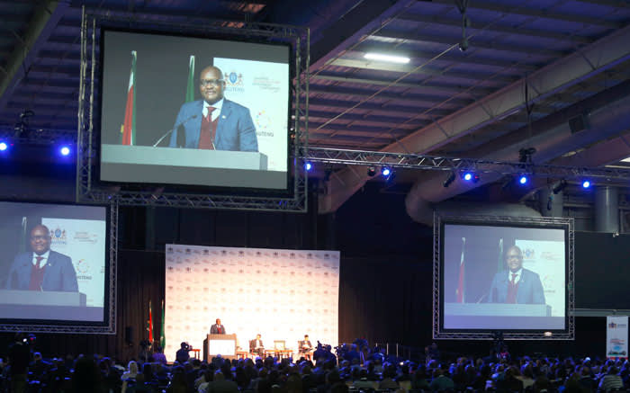 Gauteng Premier David Makhura speaking at the Gauteng Infrastructure Investment Conference in Midrand on 27 July. Picture: Twitter/@GautengProvince.